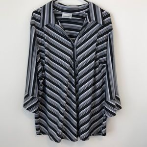 Fashion Bug Dressy Blouse Angled Stripes 2X